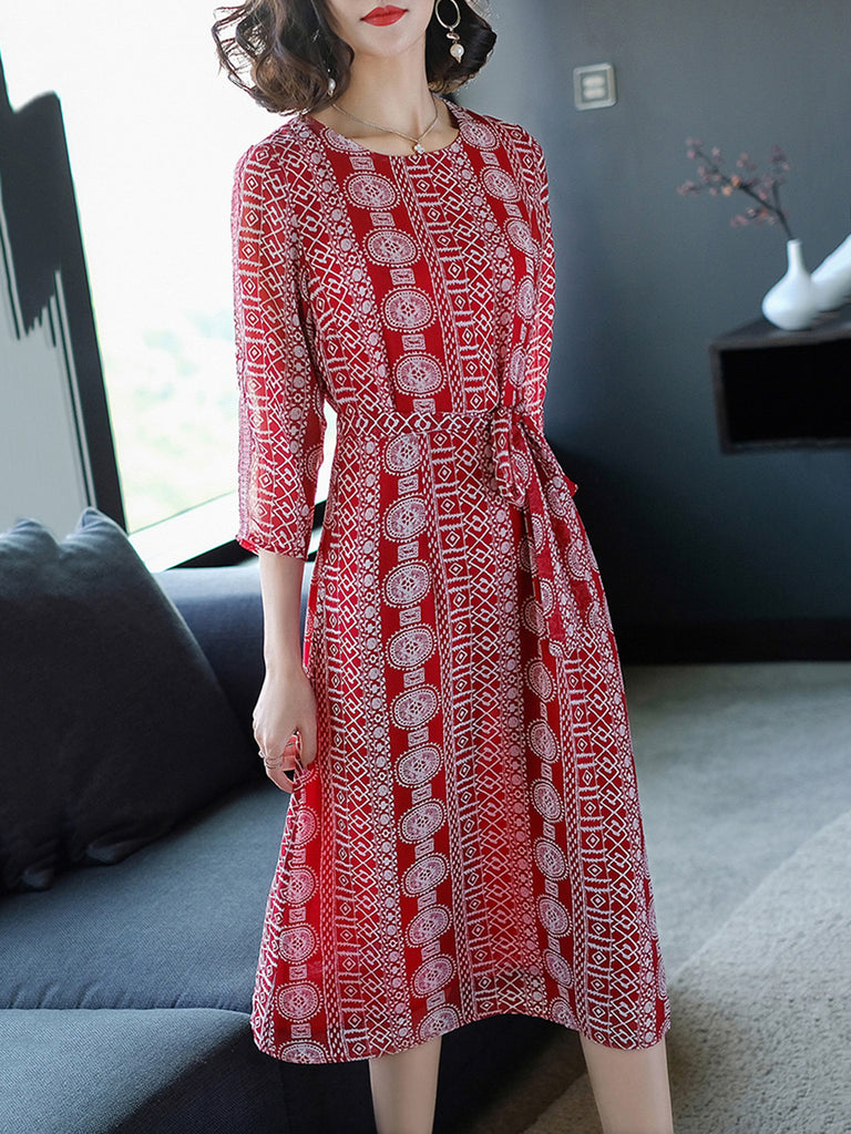 Casual A-line Geometric Printed Dress with Belts
