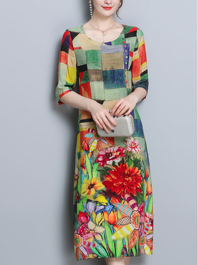 Buttoned Multicolor Casual Floral Shift Dress