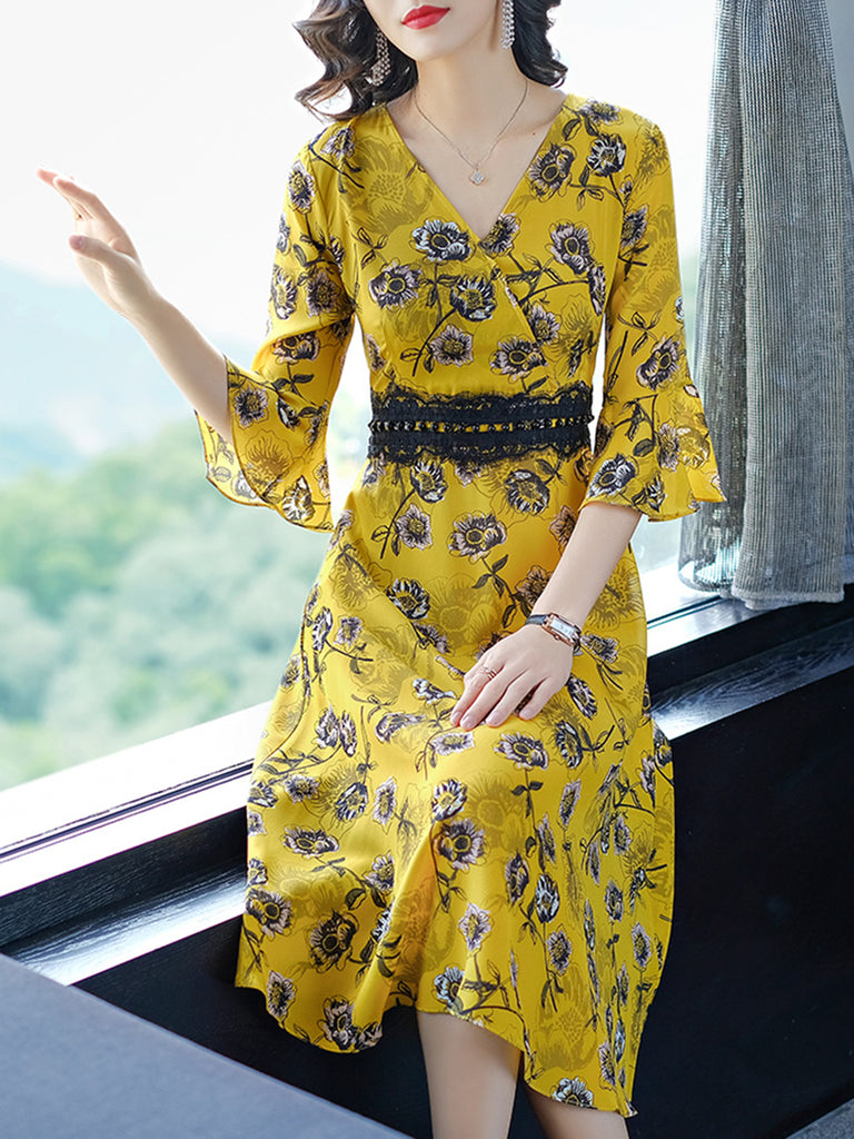 Yellow Chiffon Surplice Neck Paneled Elegant Dress