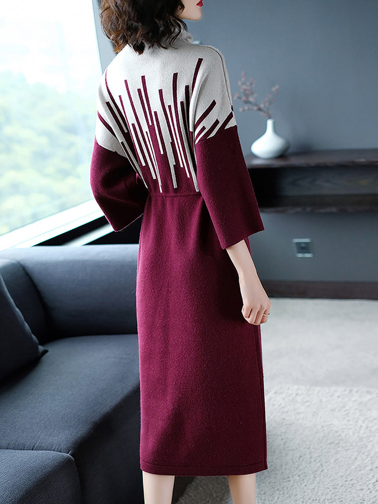 Turtleneck Color-Block Geometric Casual Sweater Dresses