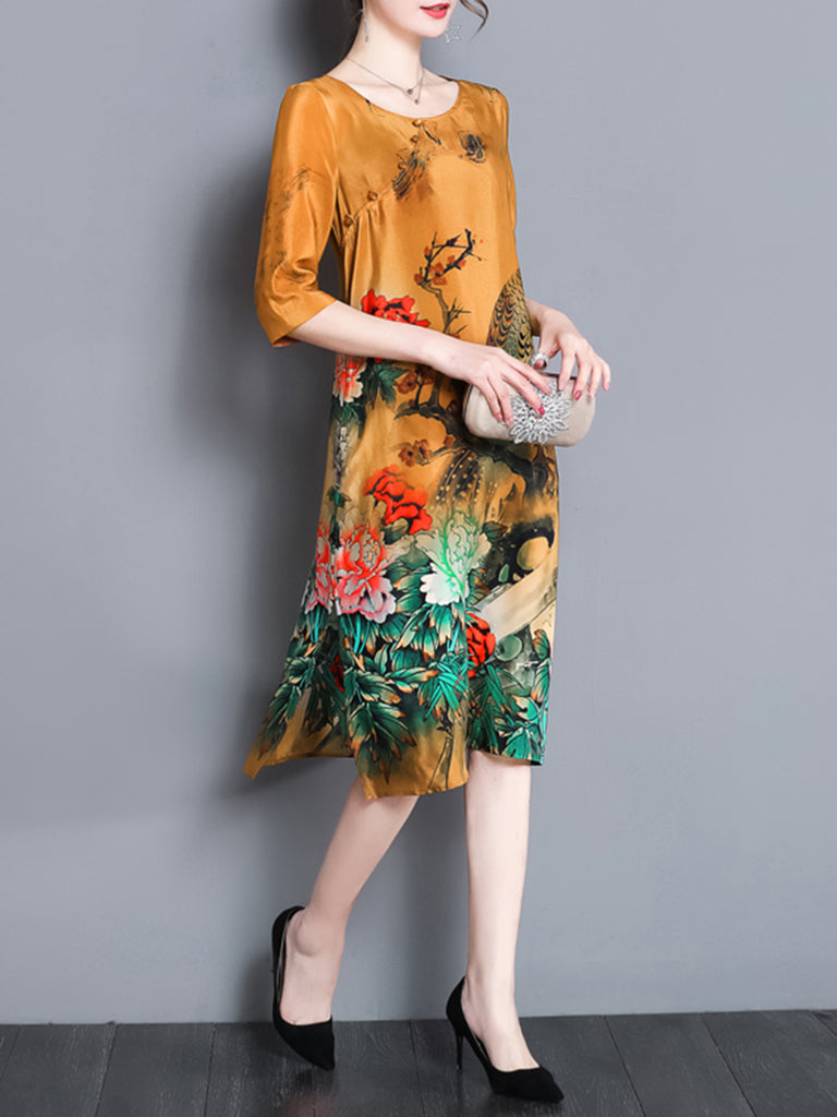 Half Sleeve Buttoned Floral Shift Midi Dress