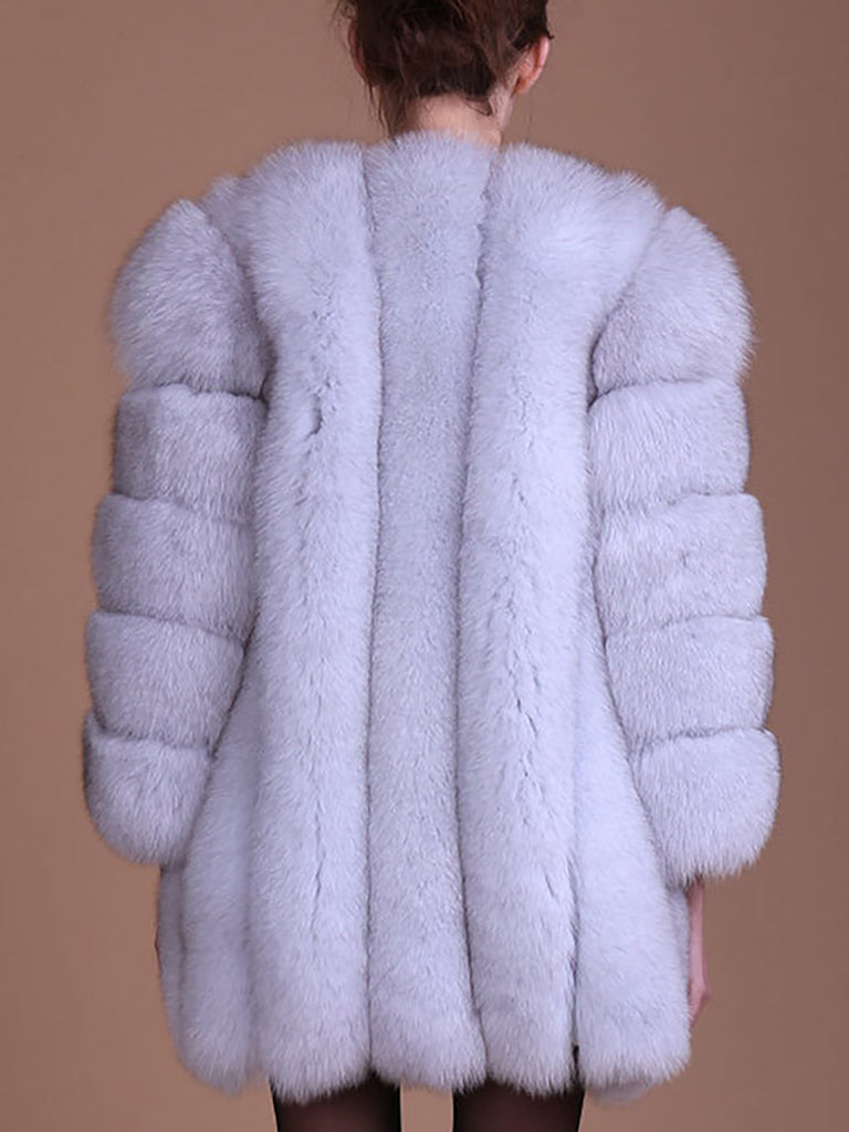 Long Sleeve Casual Solid Paneled Fur and Shearling Coat