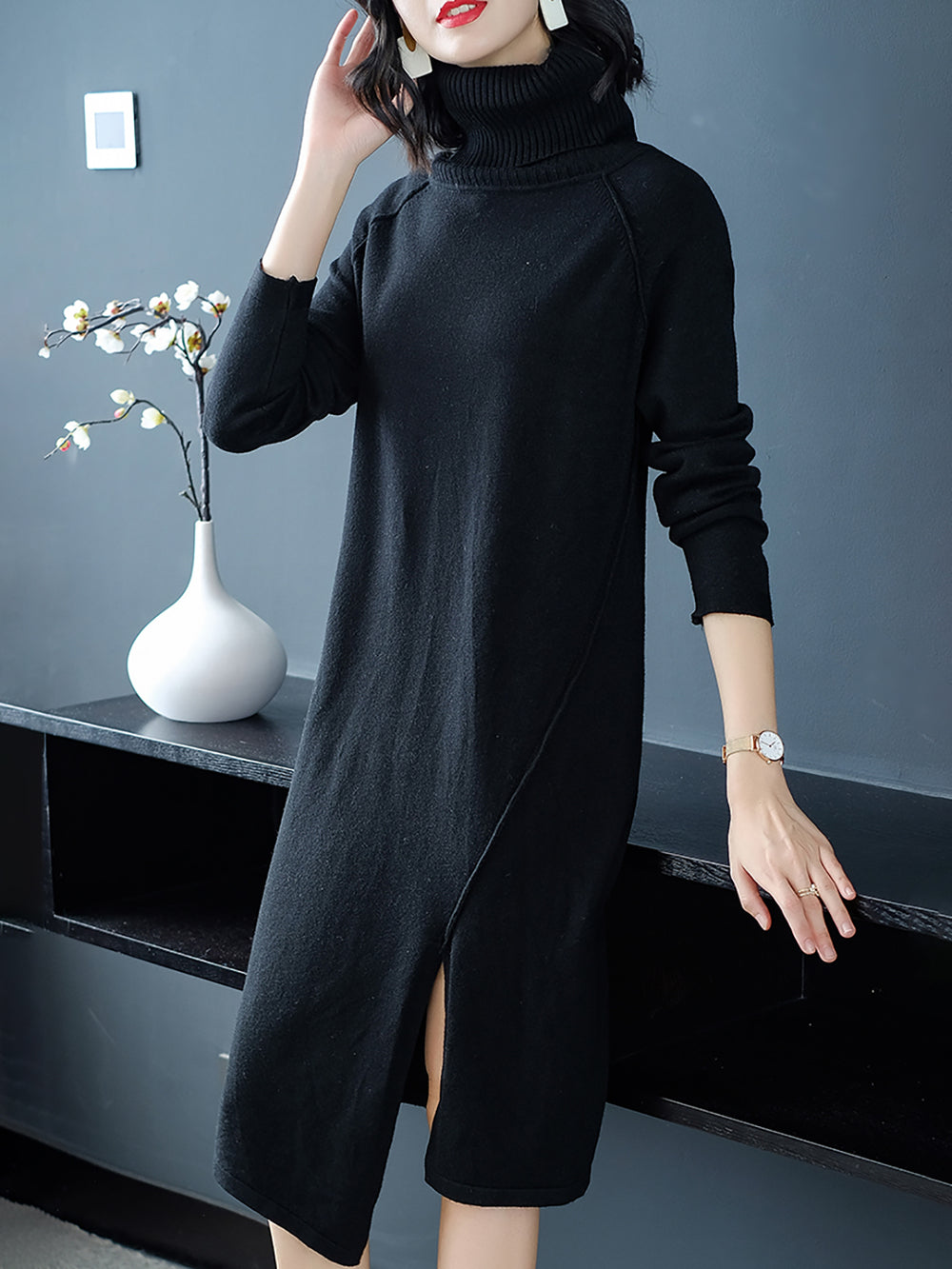 Long Sleeve Turtleneck Sweater Dresses