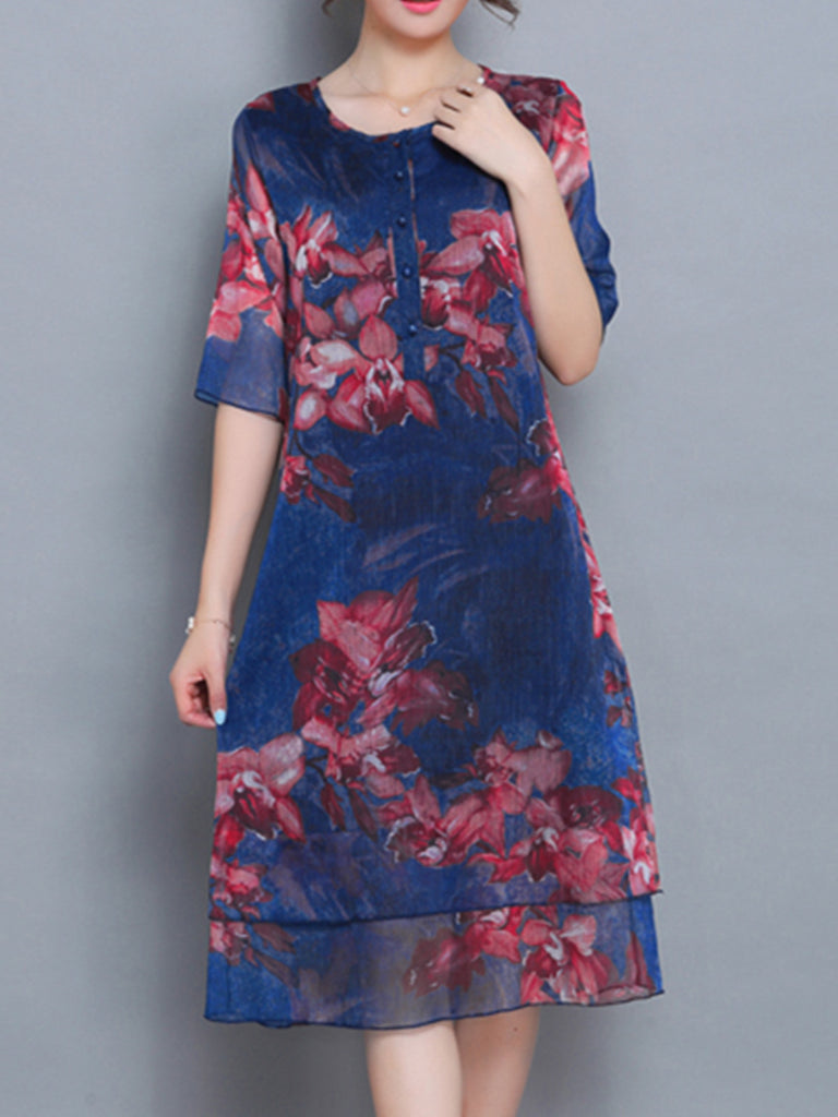 Casual Floral Buttoned Crew Neck A-line Short Sleeve Dress