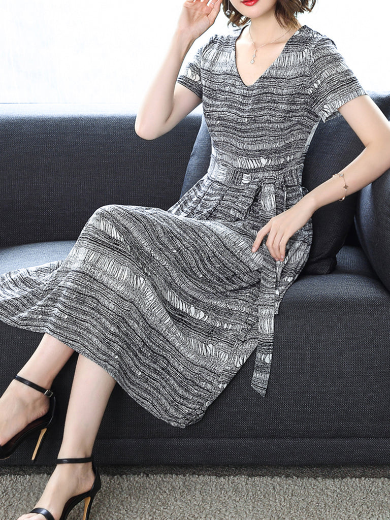 Gray V-Neck Casual Striped Printed Dress with Belts