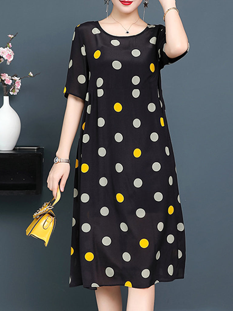 Polka Dots Casual Short Sleeve Crew Neck Dress