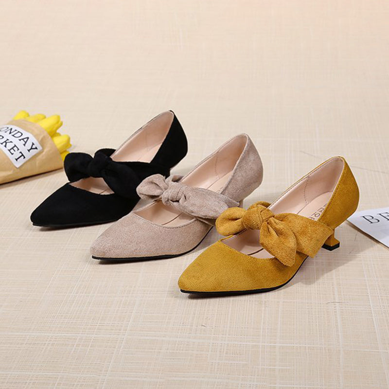 Kitten Heel Flocking Bowknot Pumps