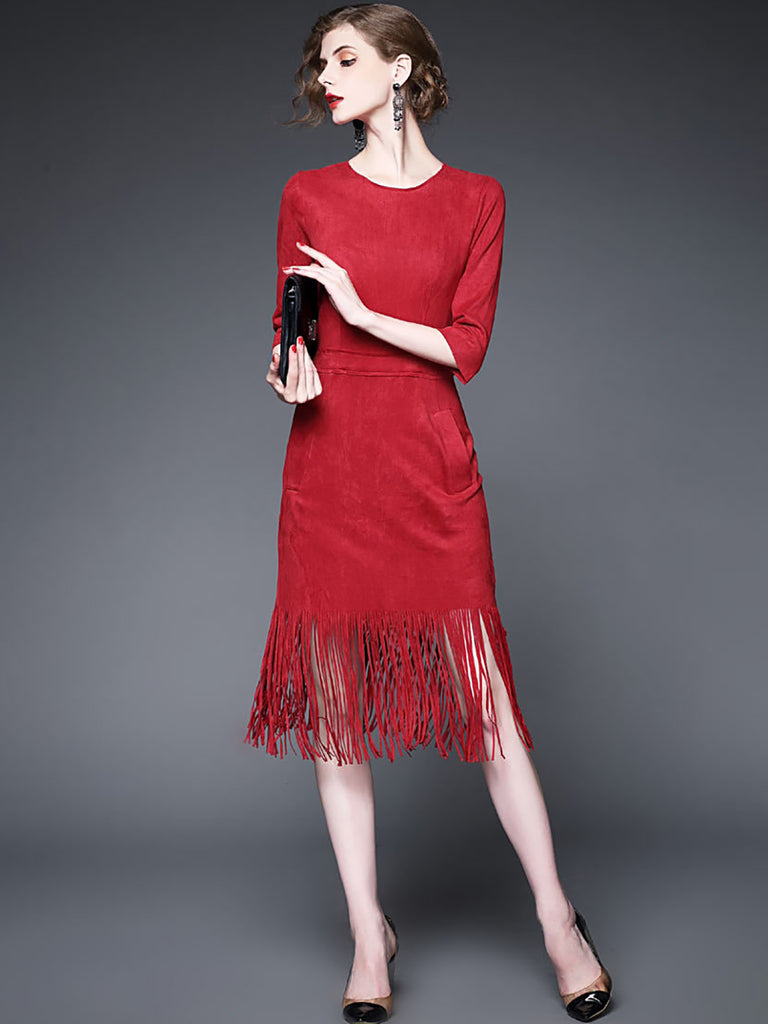 Red Sheath Work Fringed Christmas Cocktail Midi Dress
