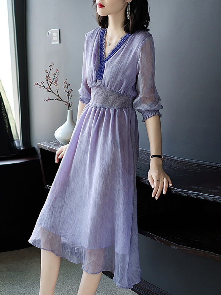 V Neck Lavender Blouson Daytime Midi Dress