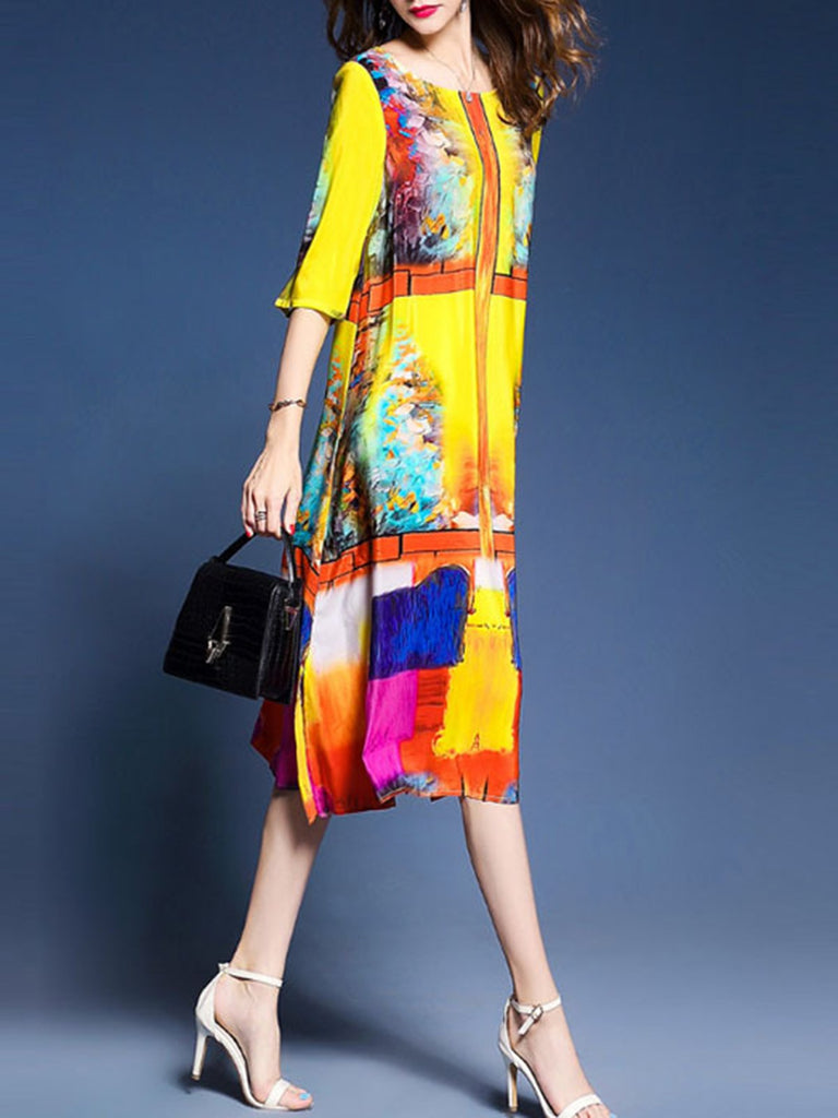 Abstract Yellow Printed Half Sleeve A-line  Dress