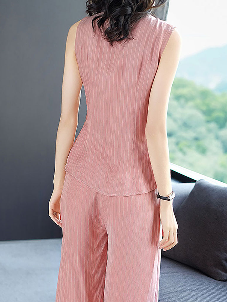 Casual Pink Sleeveless Striped V Neck Buttoned Pockets Jumpsuit