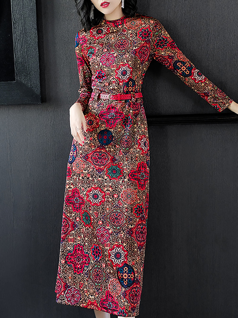 Stand Collar Sheath Red Casual Printed Maxi Dress