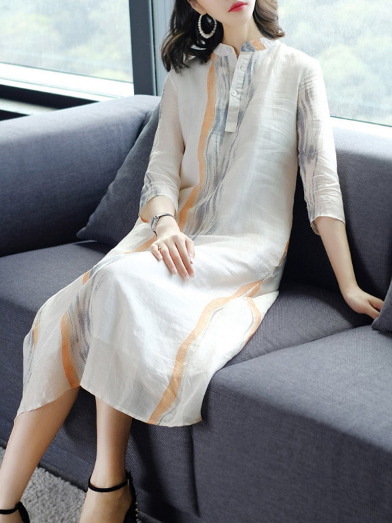 Beige Printed Stand Collar Casual Dress