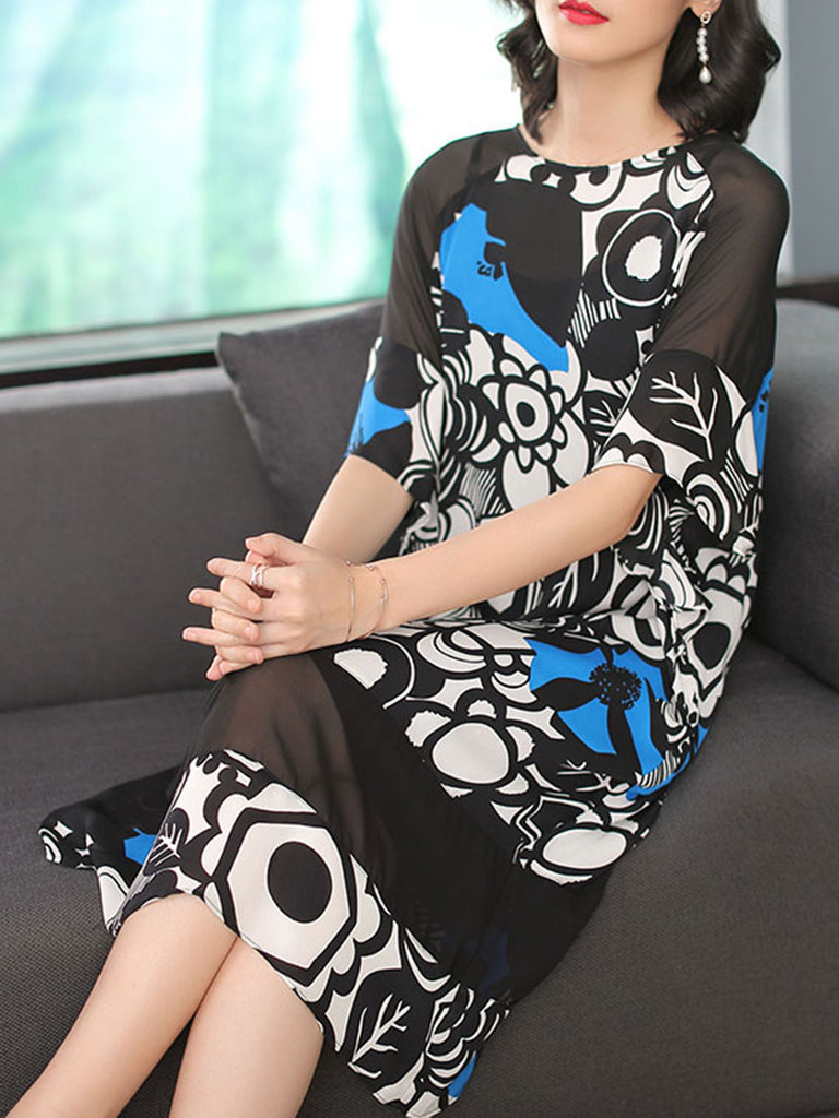 Blue Floral Printed A-line Casual  Crew Neck Dress