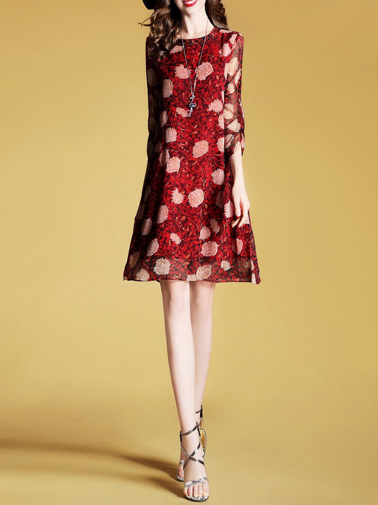 Burgundy Floral Printed Elegant Half Sleeve Midi Dress