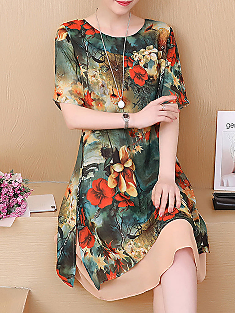 Dark Green Cotton Crew Neck Floral Vintage Vintage Dress