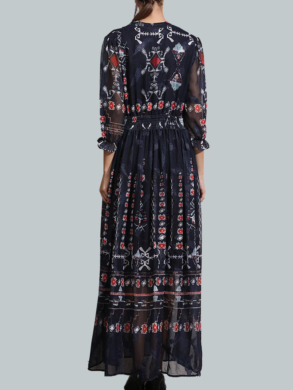 Dark Blue V Neck A-Line Vintage Printed Maxi Dress