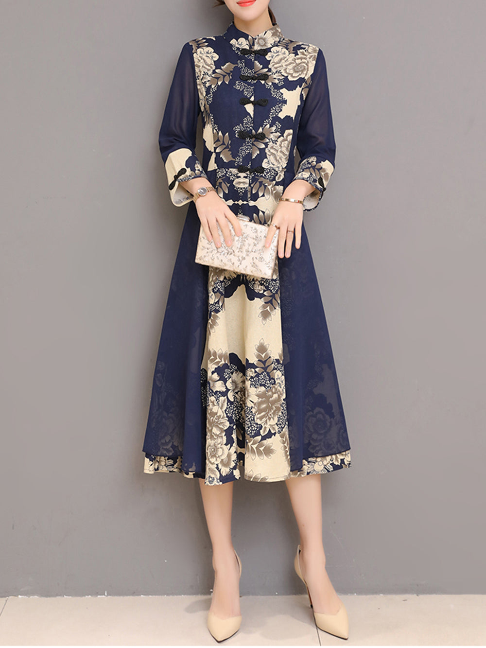 Dark Blue Cotton Casual Printed Dress
