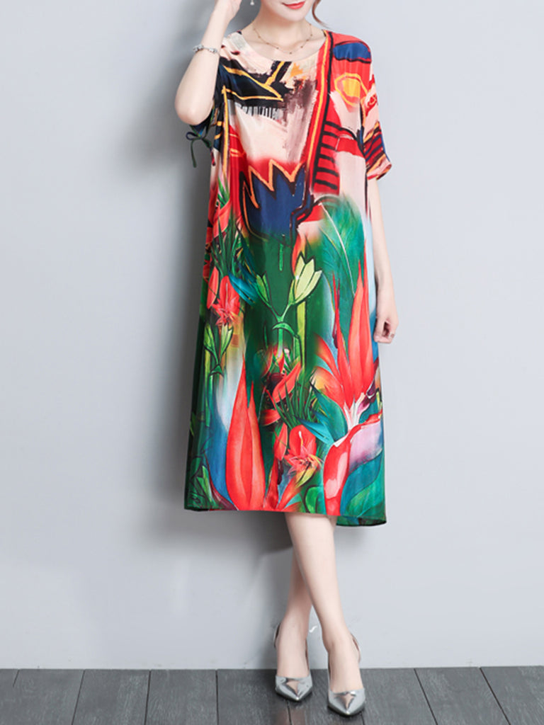 Multicolor Floral Printed Casual Short Sleeve  Dress