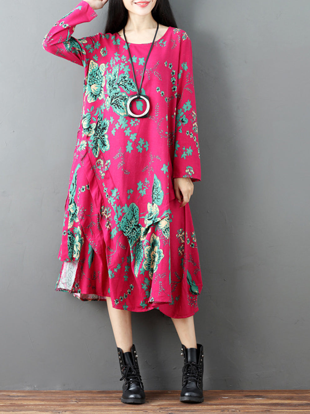 Fuchsia Casual Floral Shift Pockets Dress