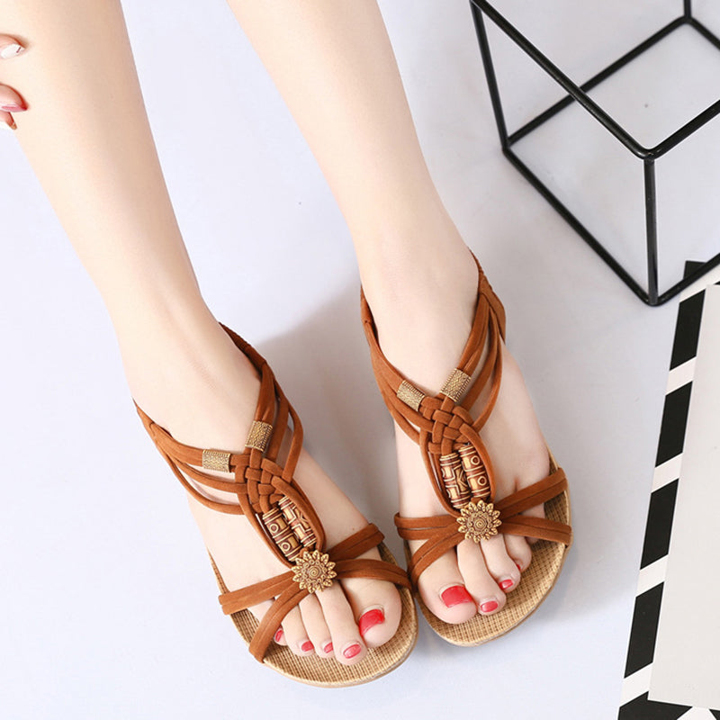 Flower Bead  Slip On Flat Beach Outdoor Sandals