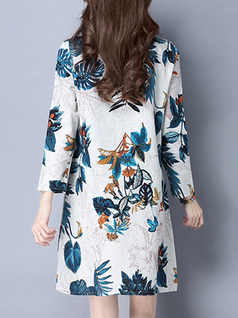Crew Neck Casual Leaf Printed Long Sleeve Linen Dress
