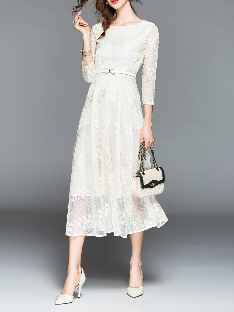 Guipure Lace 3/4 Sleeve Lace Crew Neck Dress with Belts