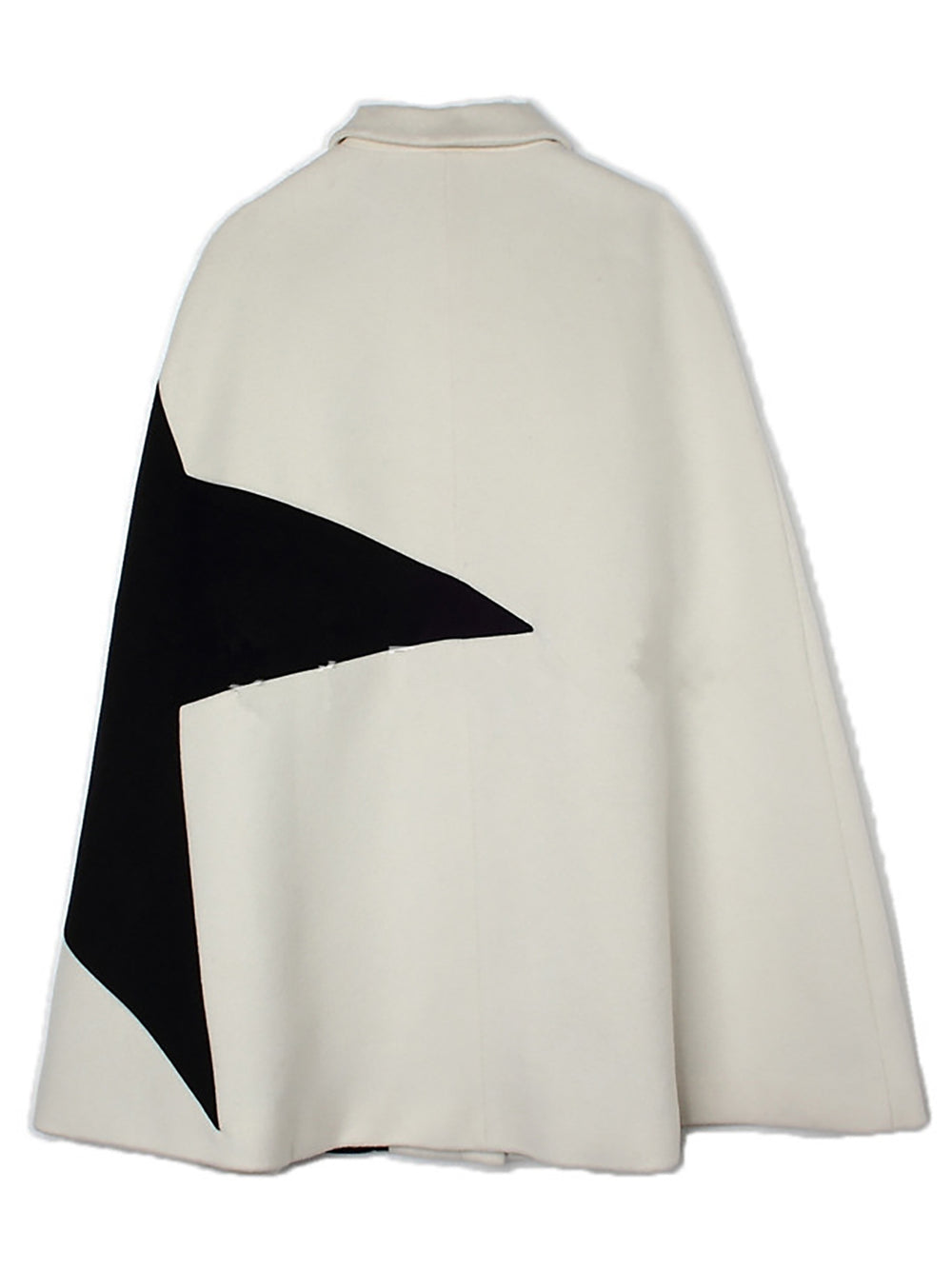 Color-Block Cape Sleeve Shirt Collar Work Coat