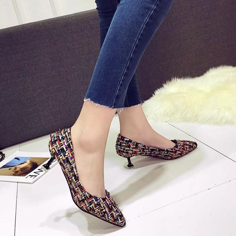 Weave Cloth Kitten Heel Pumps