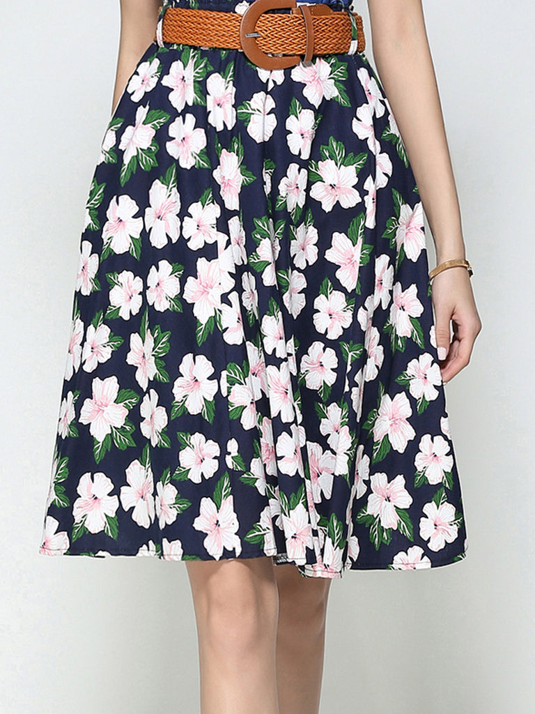 Navy Blue Floral Casual Midi Skirt