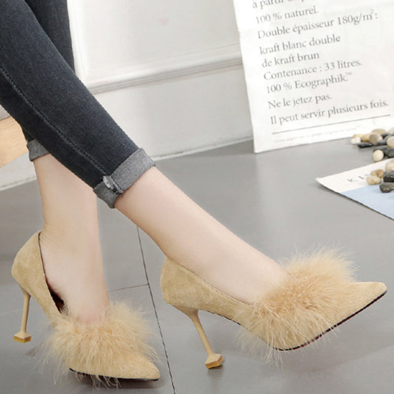 Pointed Toe Suede Women Slip-On Pumps