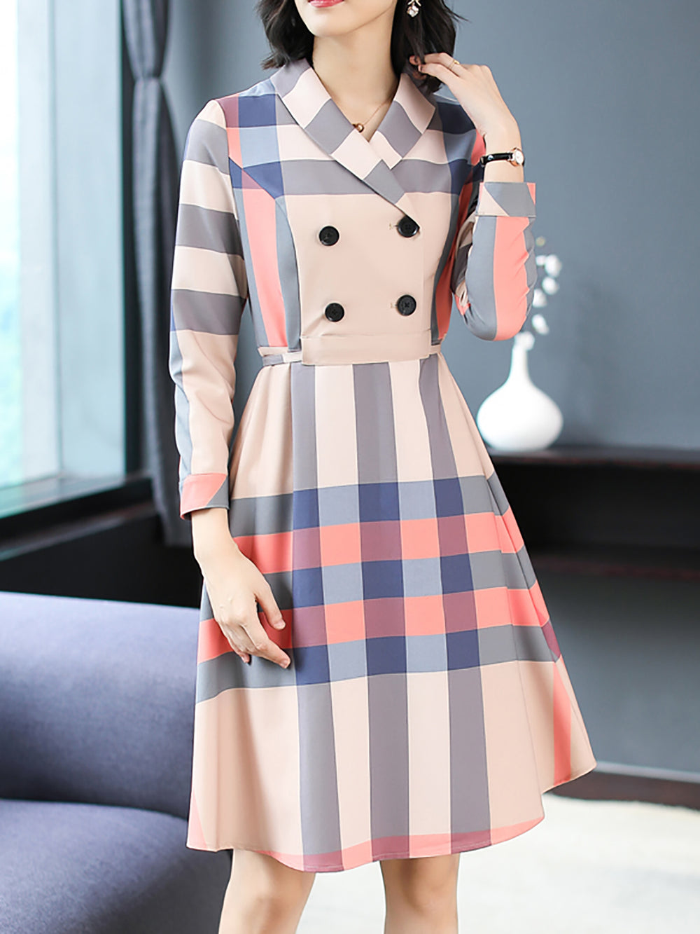 Lapel A-Line Daily Buttoned Midi Dress