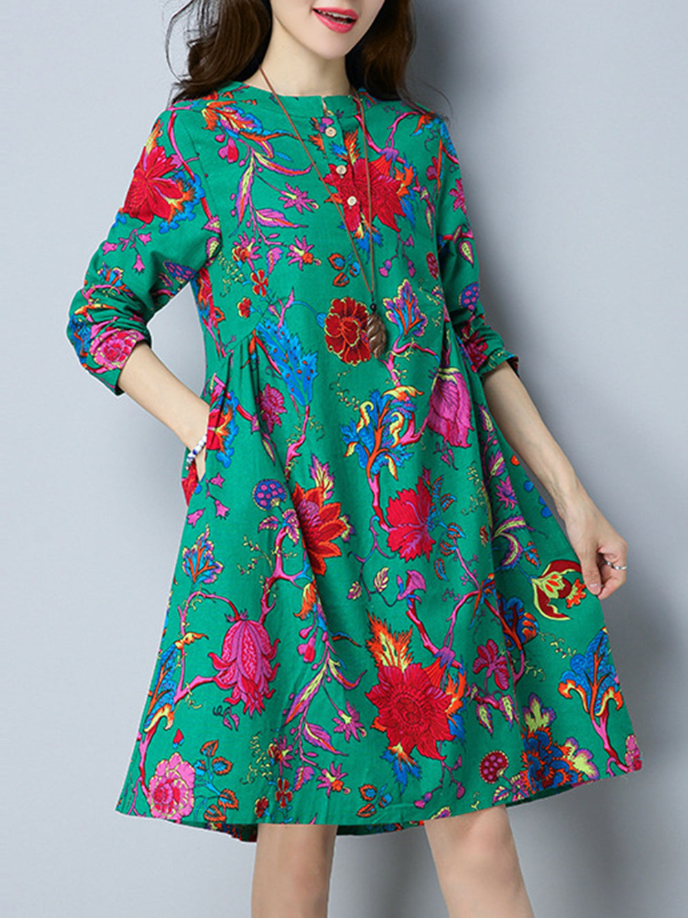 Green Casual Cotton Dress