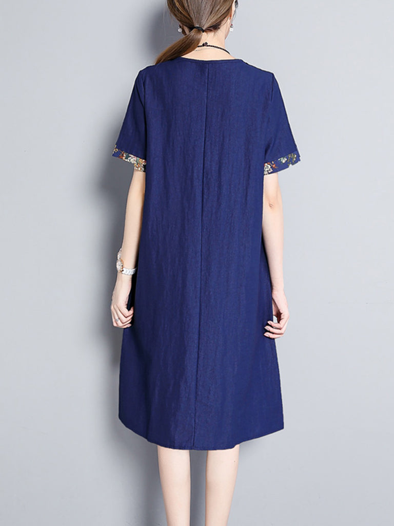 Navy Blue Short Sleeve Floral Crew Neck  Dress