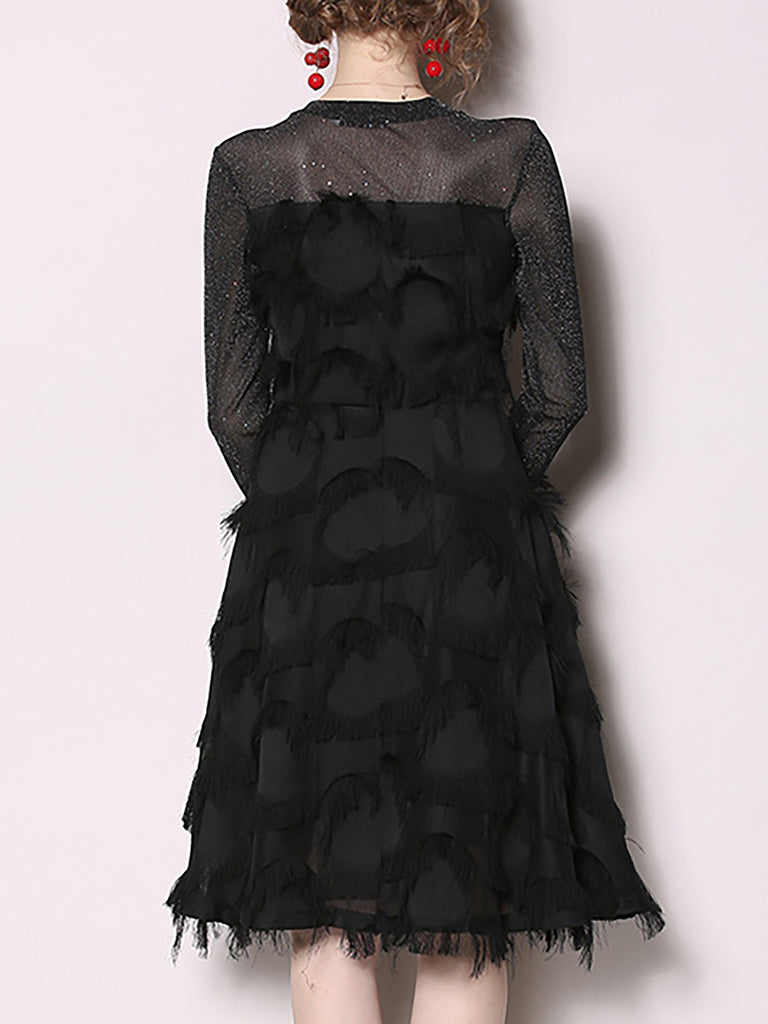 Black A-Line Shimmer Feather-Trimmed Paneled Midi Dress