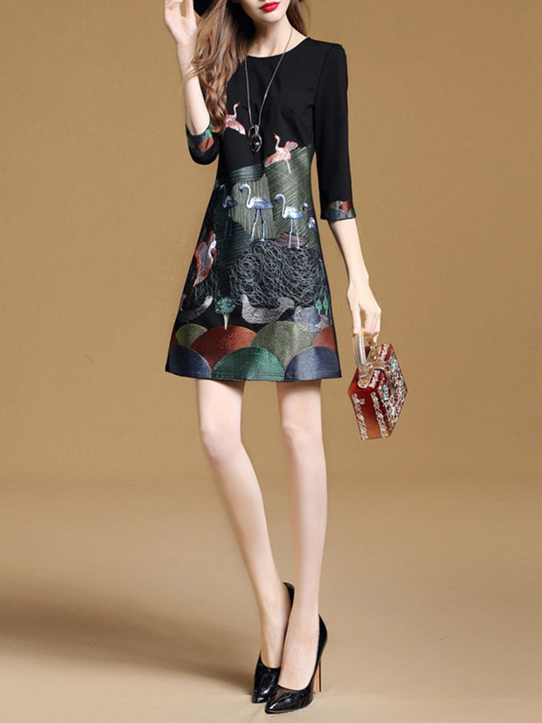 Casual A-line Animal Printed Half Sleeve Dress