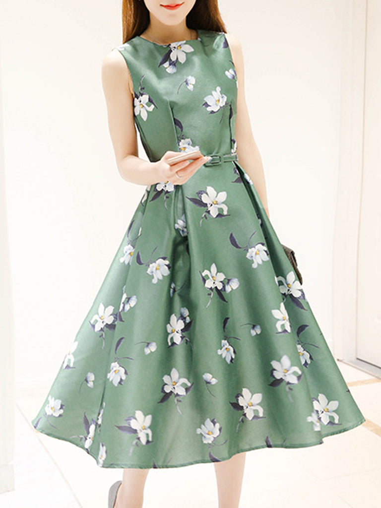 Elegant Sleeveless Floral Printed Dress with Belt