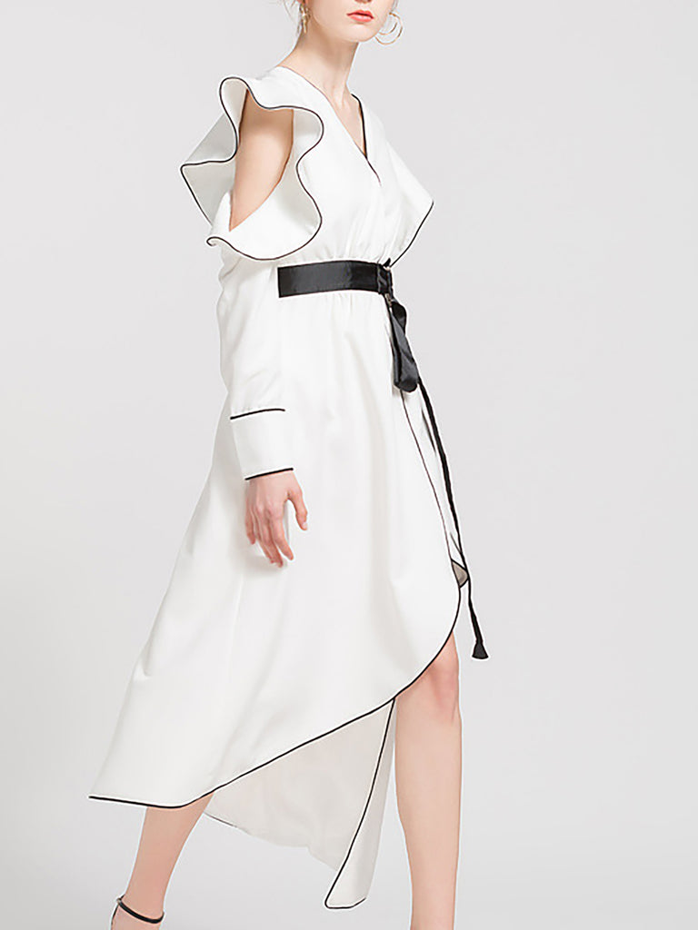 Asymmetric High Low Party Sexy Mini Dress With Belt
