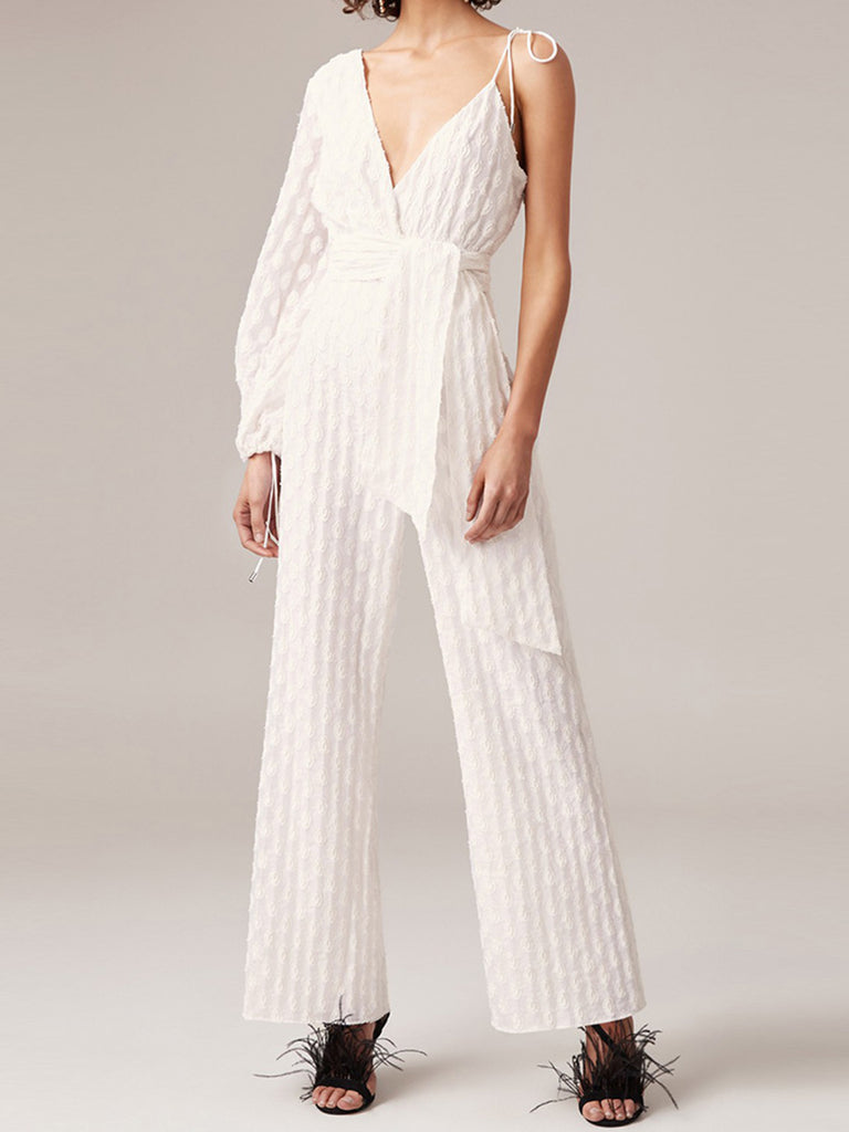 Fahion White Solid Work Elegant Braces Asymmetrical Jumpsuits