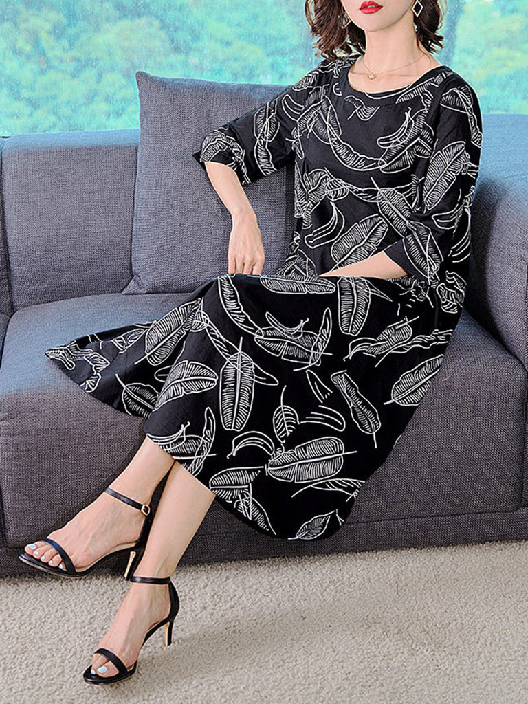 Black Crew Neck 3/4 Sleeve Printed  Dress