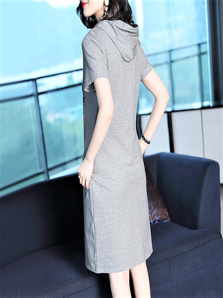 Gray Sheath Printed Casual Midi Dress