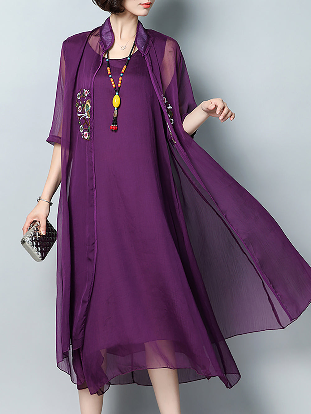Casual Stand Collar Chiffon Dress With Coat