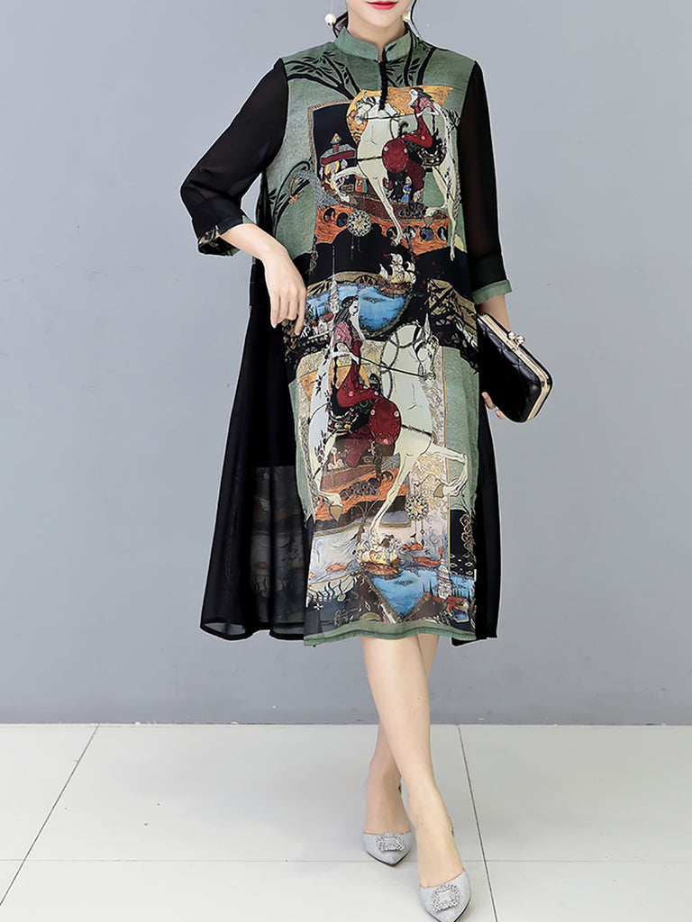 3/4 Sleeve Stand Collar Printed Midi Dress