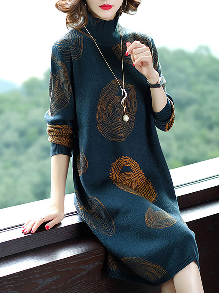Army Green Geometric Casual Printed Sweater Dress