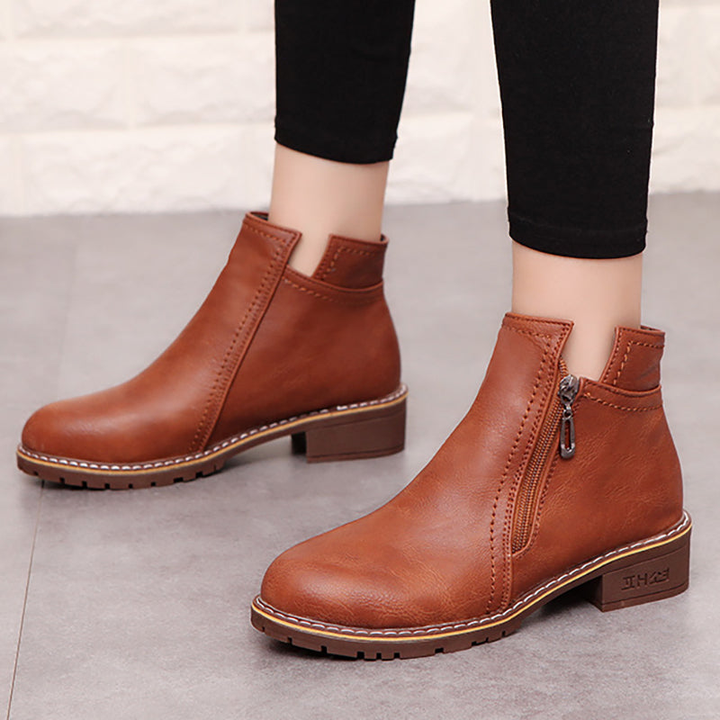 Women PU Booties Casual Comfort Zipper Shoes