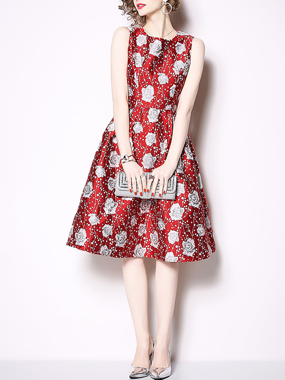 A-Line Sleeveless Jacquard Crew Neck Party Elegant Midi Dress