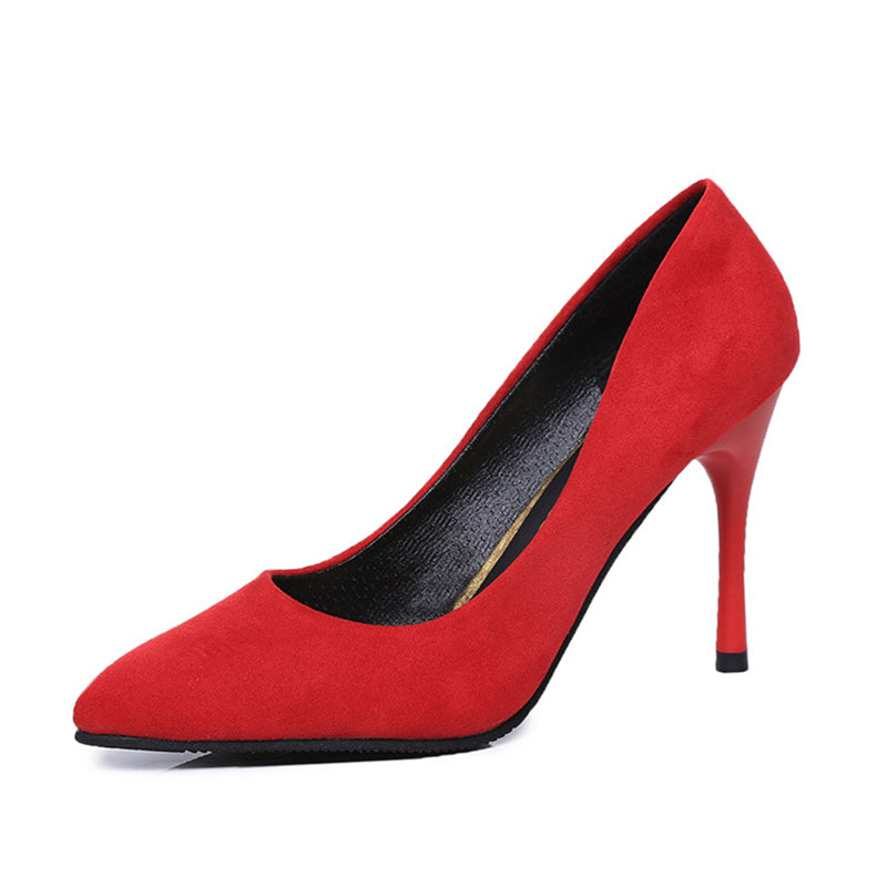 Elegant Solid Faux Suede High Heel Pumps