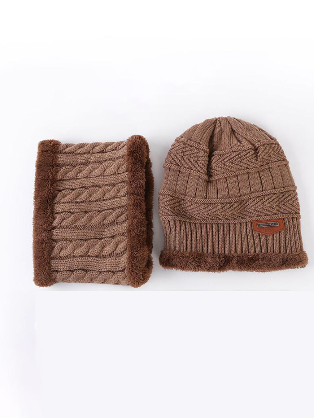Knitted Hat With Scarf Two-piece Set