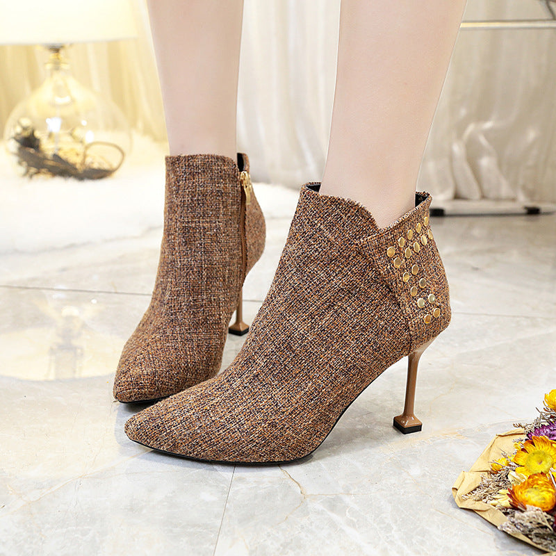 Elegant Rivet Stiletto Heel Spring/fall Boots
