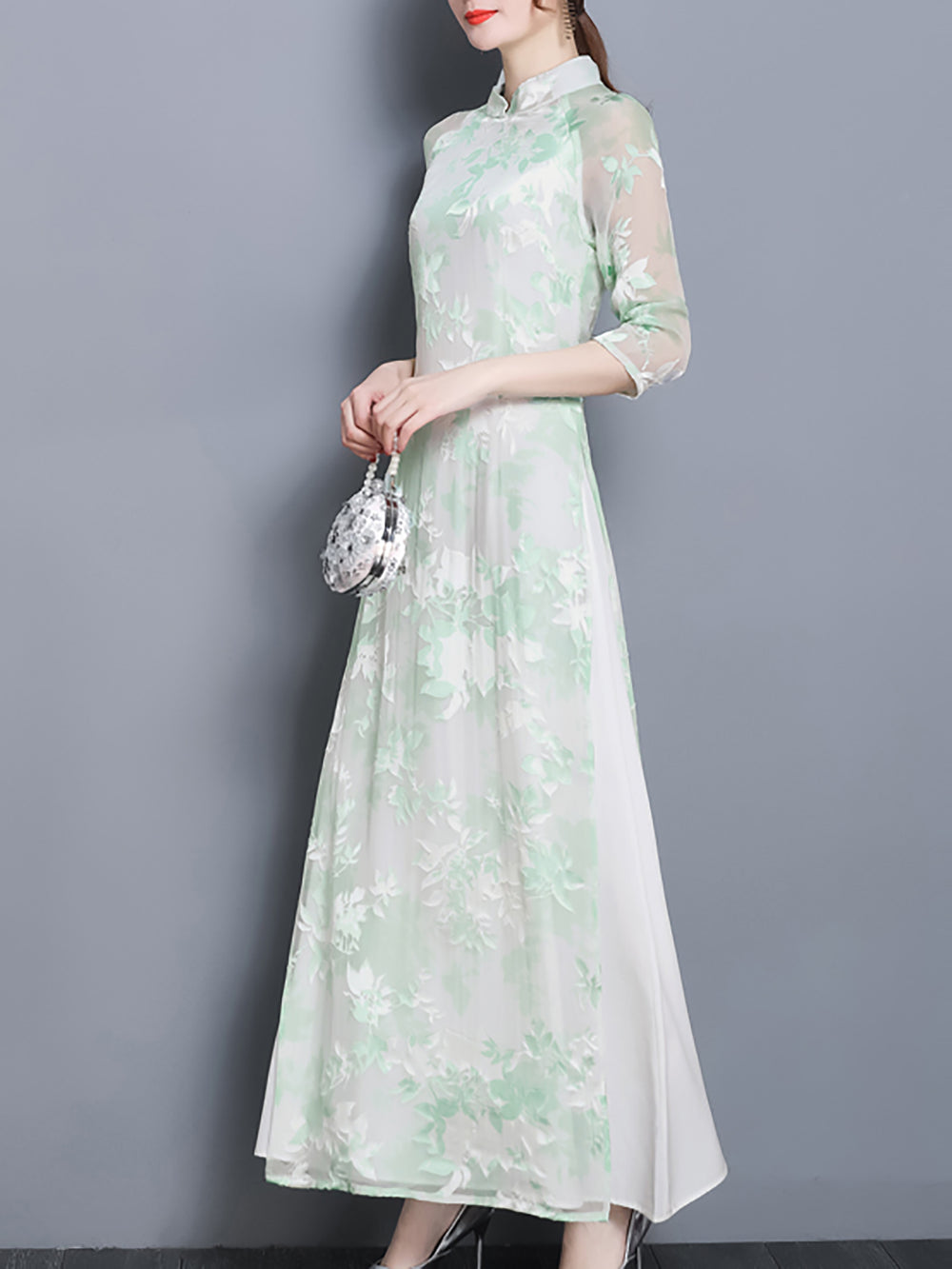 Stand Collar Shift Vintage Printed Green Cocktail Maxi Dress